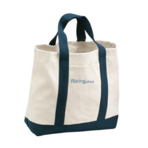 Tote, 2 Tone, Embroidery Lettering, Blue ( Decoration is on opposite side of view shown ) Thumbnail